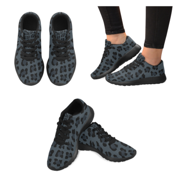Womens Running Sneakers - Custom Leopard Pattern - Charcoal Leopard / Us6 - Footwear Big Cats Leopards Sneakers