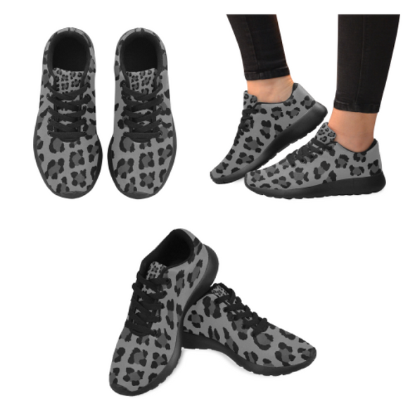 Womens Running Sneakers - Custom Leopard Pattern - Gray Leopard / Us6 - Footwear Big Cats Leopards Sneakers