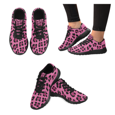 Womens Running Sneakers - Custom Leopard Pattern - Hot Pink Leopard / Us6 - Footwear Big Cats Leopards Sneakers
