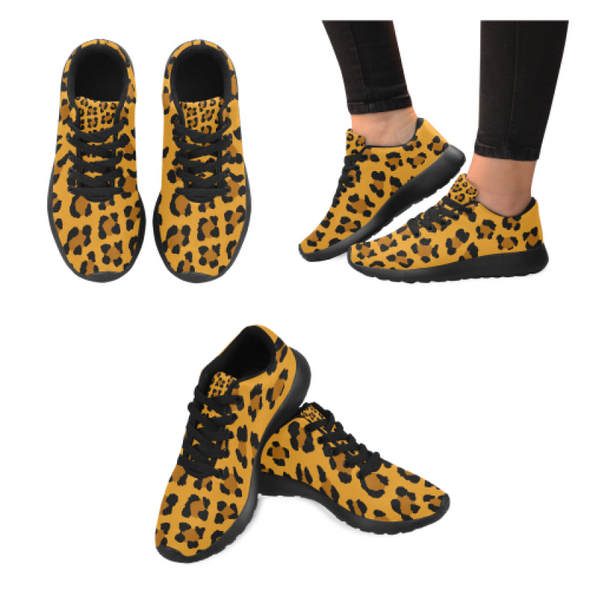 Womens Running Sneakers - Custom Leopard Pattern - Orange Leopard / Us6 - Footwear Big Cats Leopards Sneakers