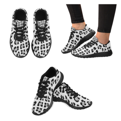 Womens Running Sneakers - Custom Leopard Pattern - White Leopard / Us6 - Footwear Big Cats Leopards Sneakers