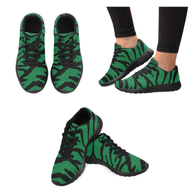 Womens Running Sneakers - Custom Tiger Pattern - Green Tiger / Us6 - Footwear Big Cats Hot New Items Sneakers Tigers