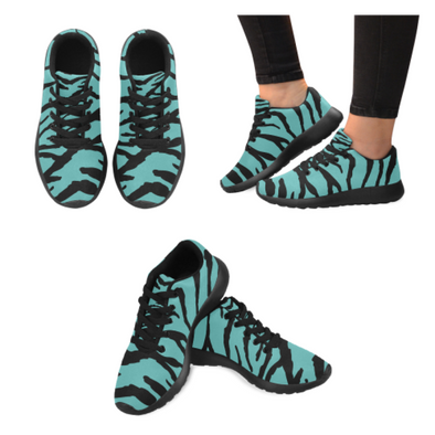 Womens Running Sneakers - Custom Tiger Pattern - Turquoise Tiger / Us6 - Footwear Big Cats Hot New Items Sneakers Tigers