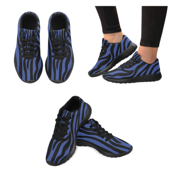 Womens Running Sneakers - Custom Zebra Pattern - Blue Zebra / Us6 - Footwear Sneakers Zebras