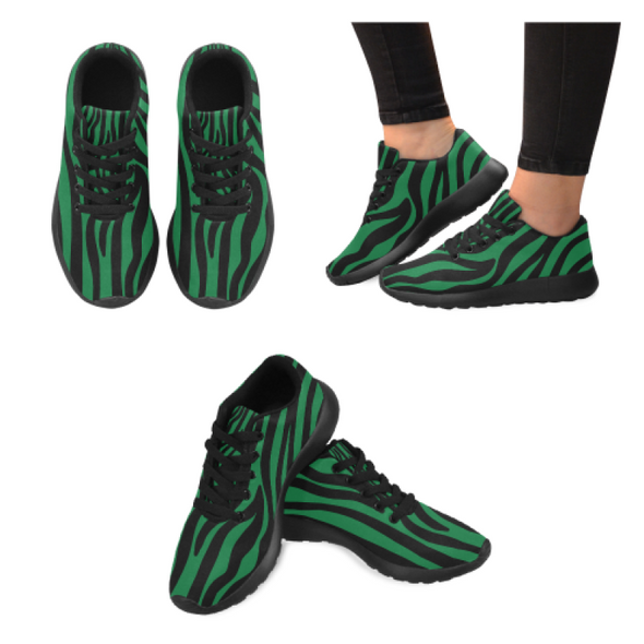 Womens Running Sneakers - Custom Zebra Pattern - Green Zebra / Us6 - Footwear Sneakers Zebras