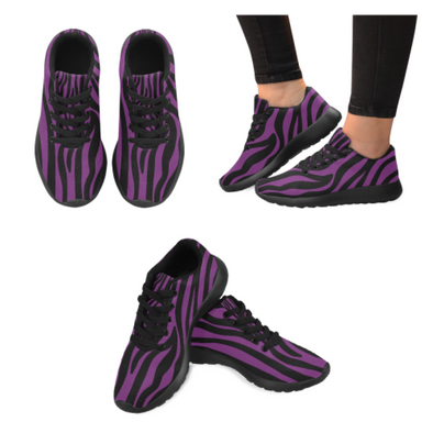 Womens Running Sneakers - Custom Zebra Pattern - Purple Zebra / Us6 - Footwear Sneakers Zebras