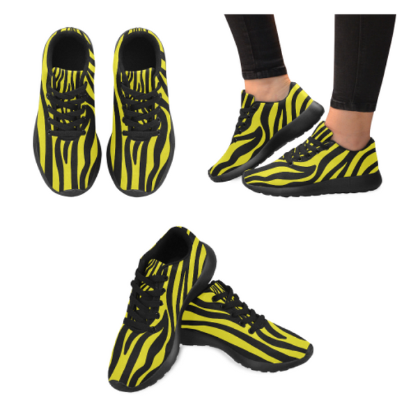 Womens Running Sneakers - Custom Zebra Pattern - Yellow Zebra / Us6 - Footwear Sneakers Zebras