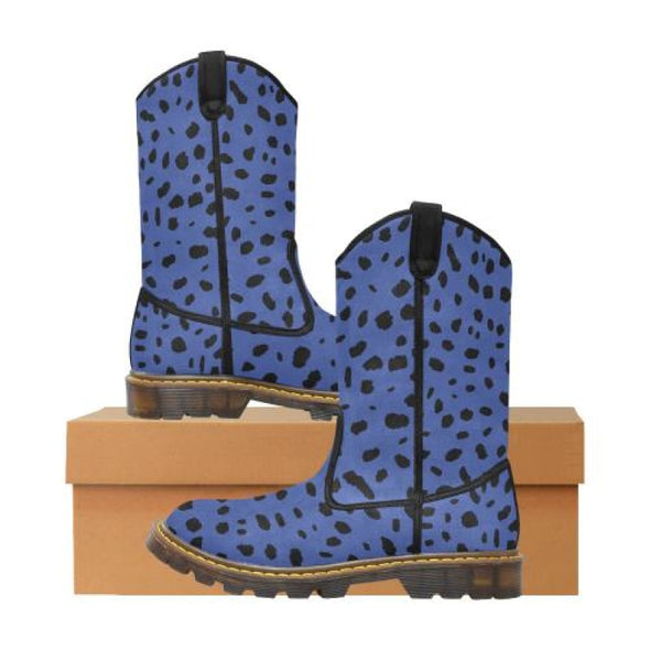 Womens Western Cowboy Boots - Custom Cheetah Pattern - Blue Cheetah / Us6.5 - Footwear Big Cats Boots Cheetahs Cowboy Boots Hot New Items