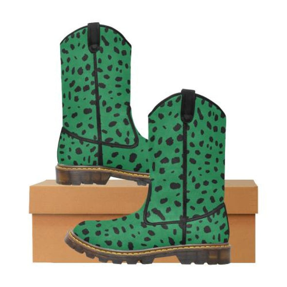 Womens Western Cowboy Boots - Custom Cheetah Pattern - Green Cheetah / Us6.5 - Footwear Big Cats Boots Cheetahs Cowboy Boots Hot New Items