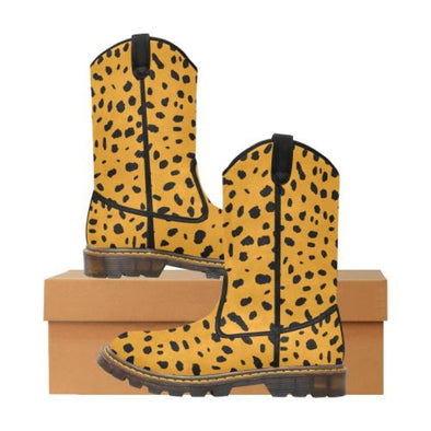 Womens Western Cowboy Boots - Custom Cheetah Pattern - Orange Cheetah / Us6.5 - Footwear Big Cats Boots Cheetahs Cowboy Boots Hot New Items