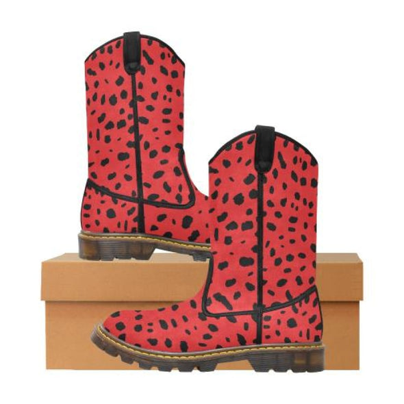 Womens Western Cowboy Boots - Custom Cheetah Pattern - Red Cheetah / Us6.5 - Footwear Big Cats Boots Cheetahs Cowboy Boots Hot New Items
