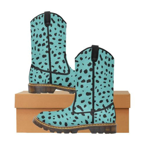 Womens Western Cowboy Boots - Custom Cheetah Pattern - Turquoise Cheetah / Us6.5 - Footwear Big Cats Boots Cheetahs Cowboy Boots Hot New