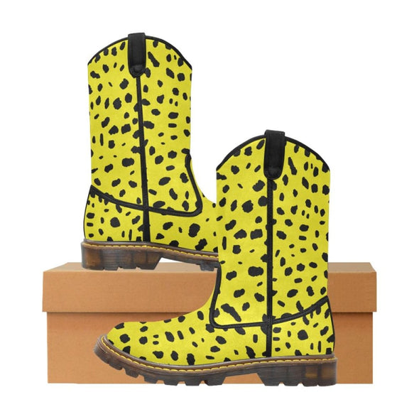 Womens Western Cowboy Boots - Custom Cheetah Pattern - Yellow Cheetah / Us6.5 - Footwear Big Cats Boots Cheetahs Cowboy Boots Hot New Items
