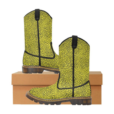 Womens Western Cowboy Boots - Custom Elephant Pattern - Yellow Elephant / Us6.5 - Footwear Boots Cowboy Boots Elephants