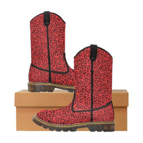 Womens Western Cowboy Boots - Custom Jaguar Pattern - Red Jaguar / Us6.5 - Footwear Big Cats Boots Cowboy Boots Jaguars