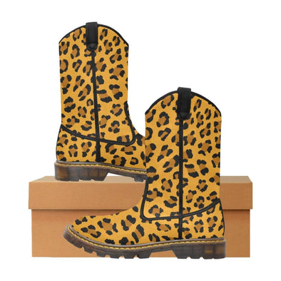 Womens Western Cowboy Boots - Custom Leopard Pattern - Orange Leopard / Us6.5 - Footwear Big Cats Boots Cowboy Boots Leopards
