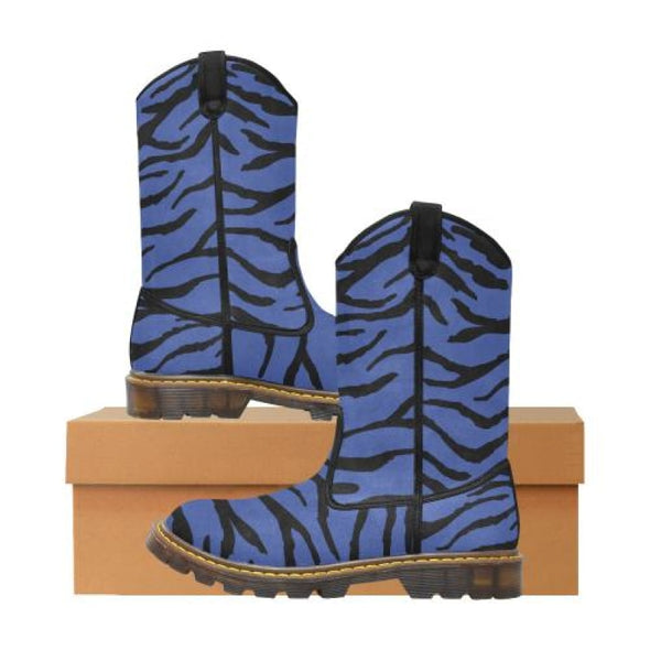 Womens Western Cowboy Boots - Custom Tiger Pattern - Blue Tiger / Us6.5 - Footwear Big Cats Boots Cowboy Boots Tigers