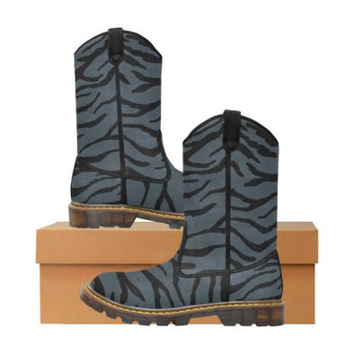 Womens Western Cowboy Boots - Custom Tiger Pattern - Charcoal Tiger / Us6.5 - Footwear Big Cats Boots Cowboy Boots Tigers