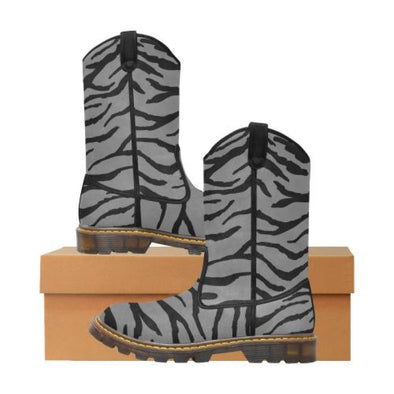 Womens Western Cowboy Boots - Custom Tiger Pattern - Gray Tiger / Us6.5 - Footwear Big Cats Boots Cowboy Boots Tigers
