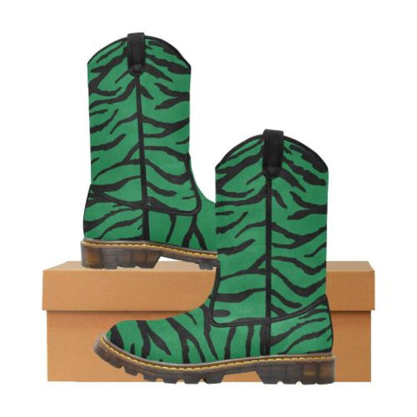 Womens Western Cowboy Boots - Custom Tiger Pattern - Green Tiger / Us6.5 - Footwear Big Cats Boots Cowboy Boots Tigers