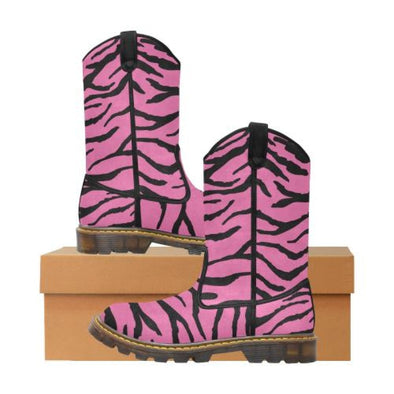 Womens Western Cowboy Boots - Custom Tiger Pattern - Hot Pink Tiger / Us6.5 - Footwear Big Cats Boots Cowboy Boots Tigers
