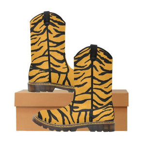 Womens Western Cowboy Boots - Custom Tiger Pattern - Orange Tiger / Us6.5 - Footwear Big Cats Boots Cowboy Boots Tigers