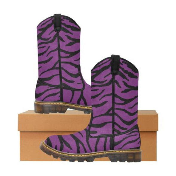 Womens Western Cowboy Boots - Custom Tiger Pattern - Purple Tiger / Us6.5 - Footwear Big Cats Boots Cowboy Boots Tigers