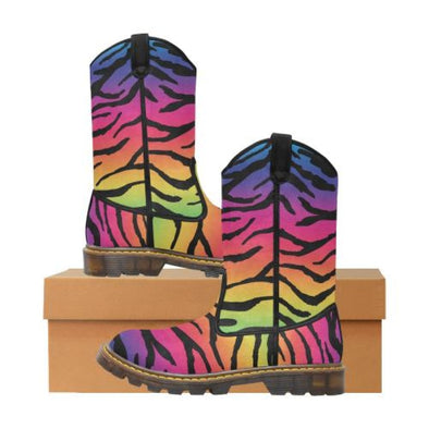 Womens Western Cowboy Boots - Custom Tiger Pattern - Rainbow Tiger / Us6.5 - Footwear Big Cats Boots Cowboy Boots Tigers