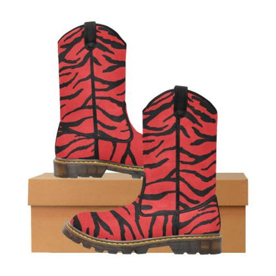Womens Western Cowboy Boots - Custom Tiger Pattern - Red Tiger / Us6.5 - Footwear Big Cats Boots Cowboy Boots Tigers