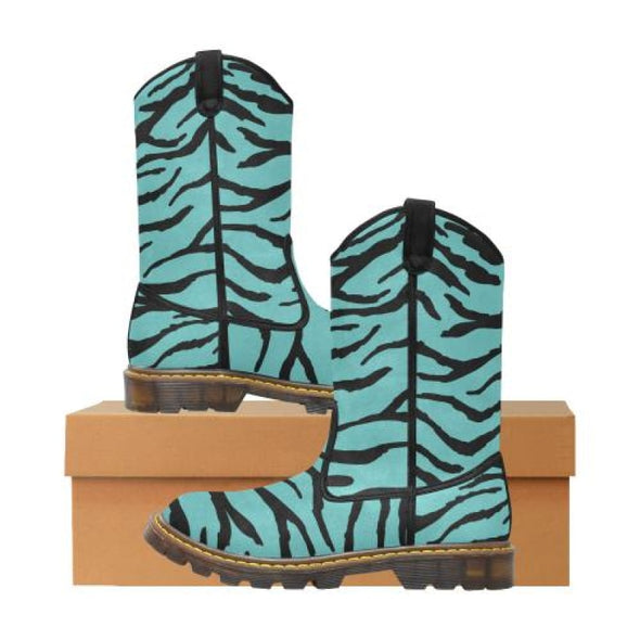 Womens Western Cowboy Boots - Custom Tiger Pattern - Turquoise Tiger / Us6.5 - Footwear Big Cats Boots Cowboy Boots Tigers