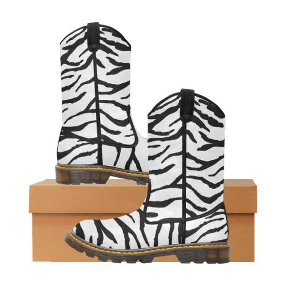 Womens Western Cowboy Boots - Custom Tiger Pattern - White Tiger / Us6.5 - Footwear Big Cats Boots Cowboy Boots Tigers