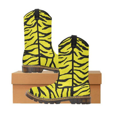 Womens Western Cowboy Boots - Custom Tiger Pattern - Yellow Tiger / Us6.5 - Footwear Big Cats Boots Cowboy Boots Tigers