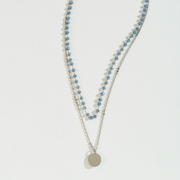 Blue Faceted Bead Layered Necklace