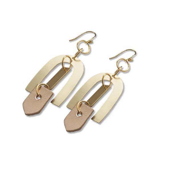 Rose Gold Geometric Leather Earrings