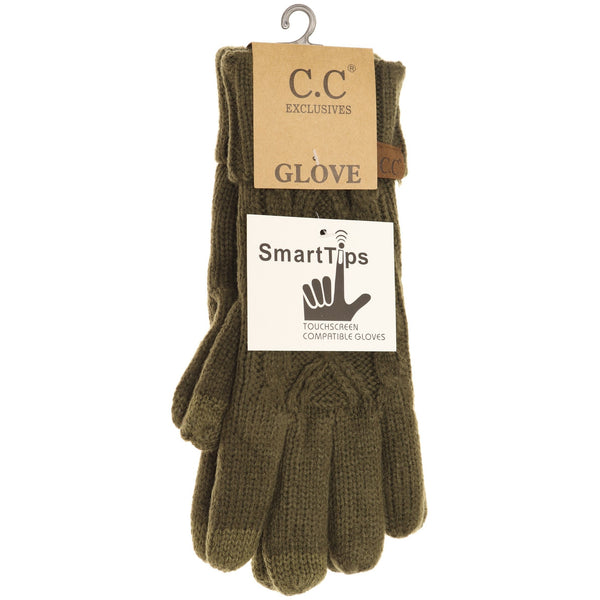 C.C. Lined Cable Knit Gloves