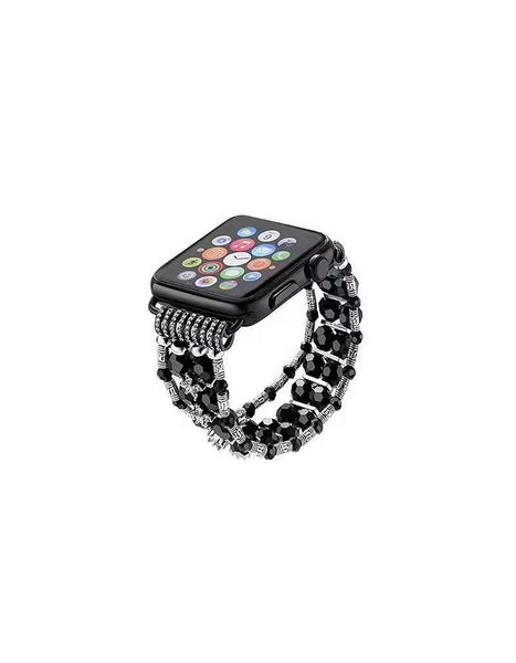 Black Beaded Apple Watch Band