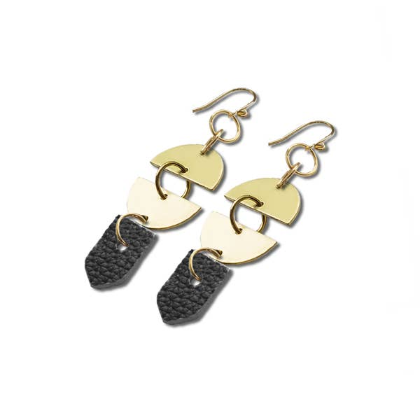 Black Leather Full Moon Earrings