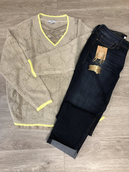Natural/Lime Lightweight Sweater