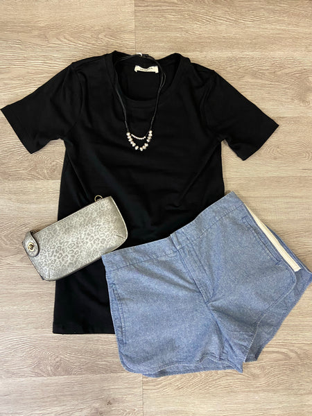 Black Relaxed Fit Crew Tee