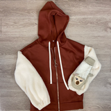 Brick Red Hoodie With Faux Fur Arms