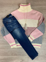 Pink Combo Turtle Neck Sweater