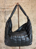 Black Quilted Slouchy Hobo