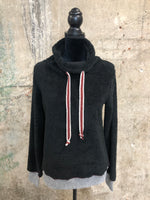 Black Fuzzy Funnel Neck Sweater