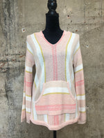 Light Pink Multi Striped Hoodie
