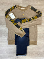 Taupe/Camo Sleeve Pullover