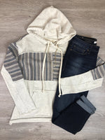 Oatmeal Striped Contrast Hoodie