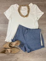 Light Blue/White Braid Detail Shorts