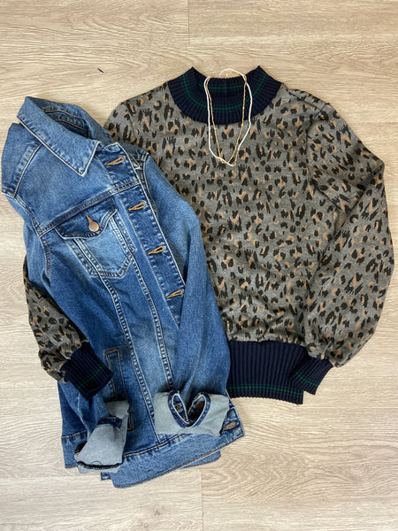 Grey Cheetah Knit With Navy Detail