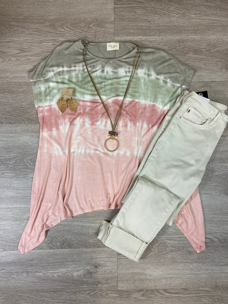 Sage/Salmon Tie Dye Asymmetrical Top