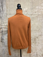 Camel Button Accent Turtleneck Sweater